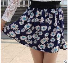 Lato 2019 szyfonowa spódnica damska nadruk w kwiaty spódnice w stylu koreańskim kobiety wysoka elastyczna talia plaża krótka spódnica odzież damska(China)