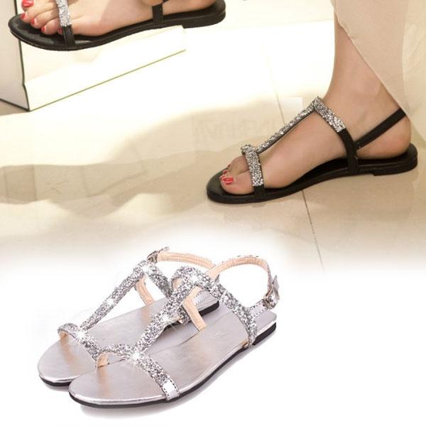Гаджет  New arrival Summer Women Diamond Flat Shoes Sparkling Thong Lady Beach Sandal Silver Black free shipping None Обувь