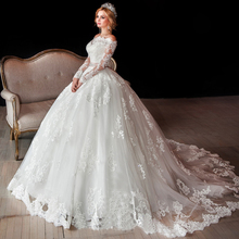 Buy Luxury Long Sleeve Lace Wedding Dresses Shoulder African Puffy Ball Gown Bride Dress 2017 Winter Sash Beads for $189.00 in AliExpress store