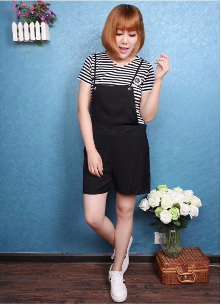 Fat sister fertilizer to increase size women's 200 pounds of fat mm summer 2016 new striped T-shirt overalls children suits