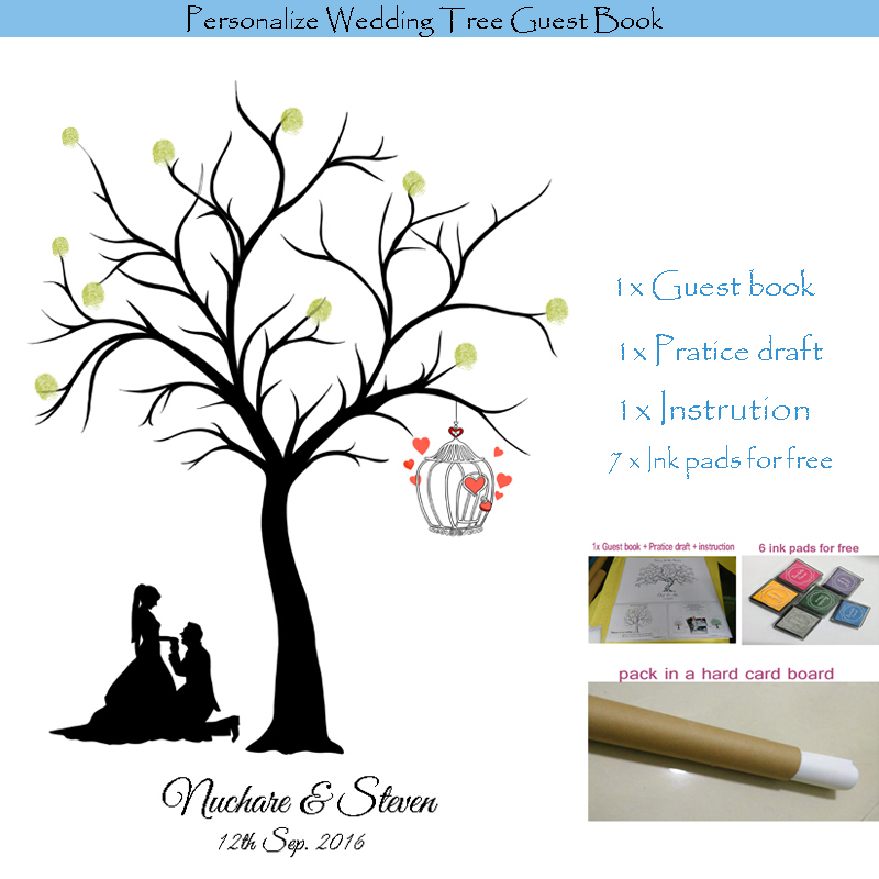 Personalized Wedding Tree Guest Book Alternative / Fingerprint Wedding Guest Book Tree Love Birds / Canvas Printing / Inks free(China (Mainland))
