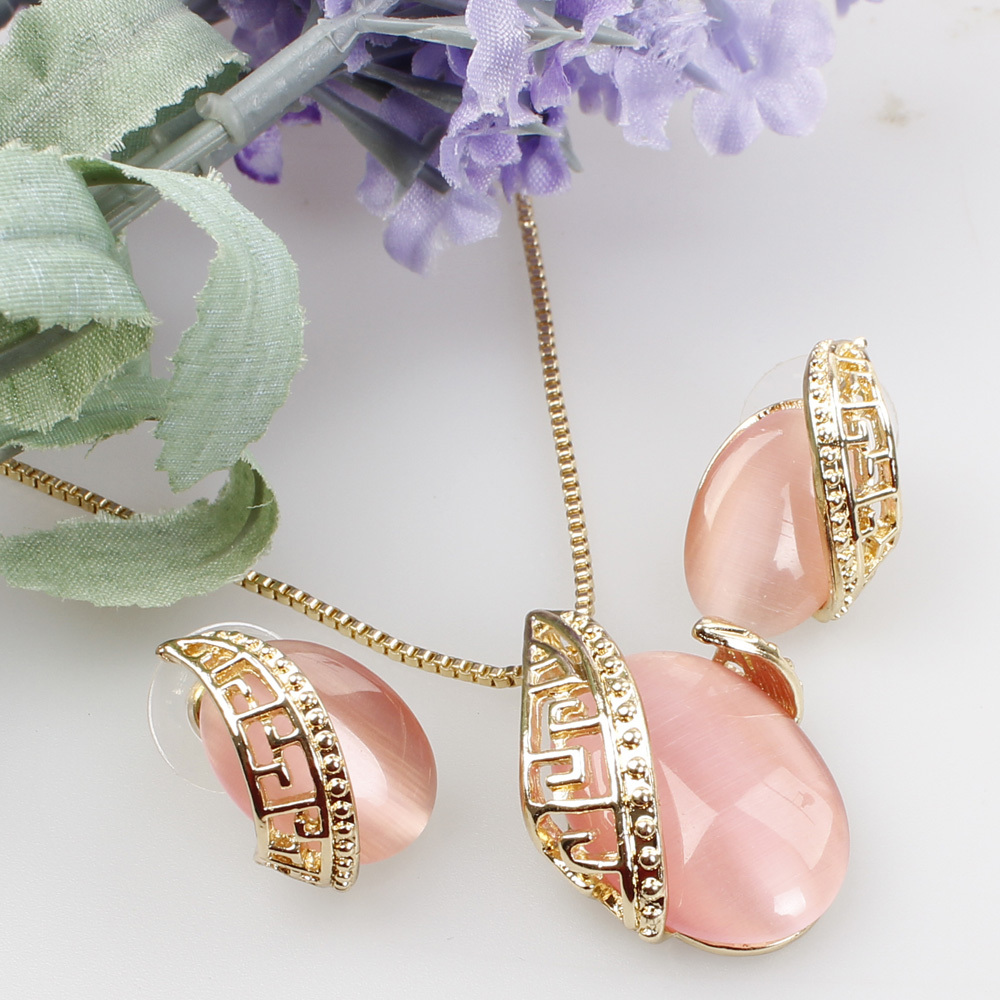 Unique Design Romantic Oval Opal Stone Pendant Necklace18K Gold Plated Necklace Earrings Jewelry Set For Women Wedding Set(China (Mainland))