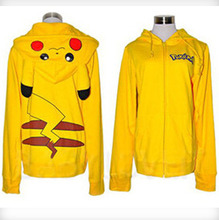 S-XXXL sudaderas mujer 2015 new women Zipper pockets animal hoodie with ears kawaii sweatshirt jogging pikachu hoodie K(China (Mainland))