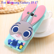 3D Cartoon Cute Judy Rabbit Soft Silicone Case Cover Samsung Galaxy J5 J500F J7 J700F Monsters University Protective Fundas - Ant CellParts Store store