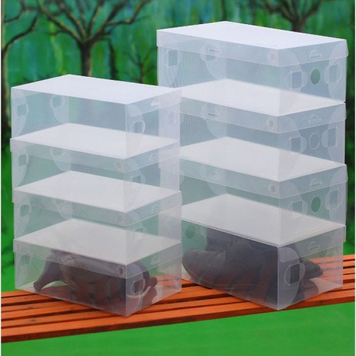 New Arrival 10X Transparent Clear Plastic Shoe Boxes Stackable Foldable Organizer Box Bulk Free shipping freeshipping(China (Mainland))