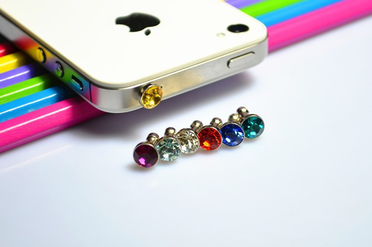 100 pcs Colorful Diamond Rhinestone Dust Plug Earphone Plug For iPhone/Samsung/HTC/iPad,Mobile Phone Accessories DROP SHIPPING