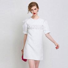 Buy Europe 2016 fall/winter wear dresses UK wind high fashion white lattice round neck short sleeve Jacquard dress for $36.90 in AliExpress store