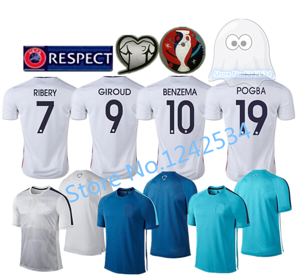 Thailand best Quality 2015 POGBA BENZEMA Griezmann Soccer Jersey,VARANE RIBERY VALBUENA GIROUD 2016 training Football Shirt(China (Mainland))