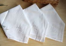 High quality White  embroicered   Napkin Set  40cm(China (Mainland))