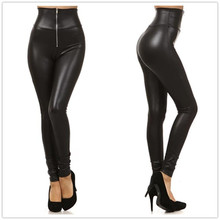 New Faux Leather Leggings Sexy Fashion High-waist Stretch Material Women Leggings Women Skinny Pants Zipper Jeggings LG001