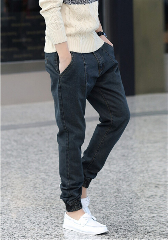 Autum 2016 New Men's Modern Harem Jeans Slim Korean Style Pencil Pants For Youth Fashion Cross-Pants Plus Size M-6XL,5XL,4XL,3XL