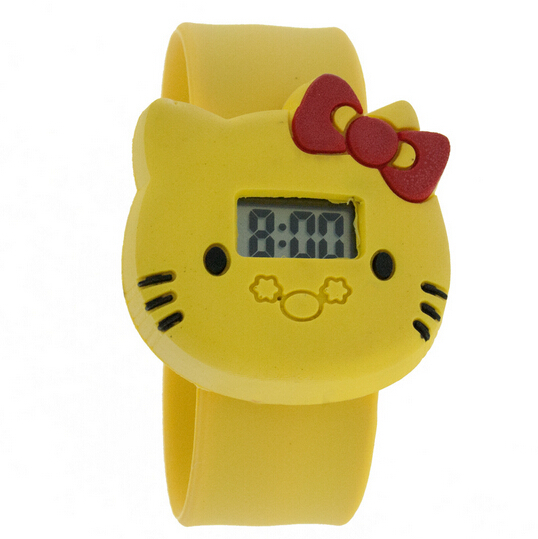 New Arrival 10 pcs/lot, hello kitty silicone Watches Free shipping, Cartoon slap Watch,different Nice birthday gifts for kids(China (Mainland))