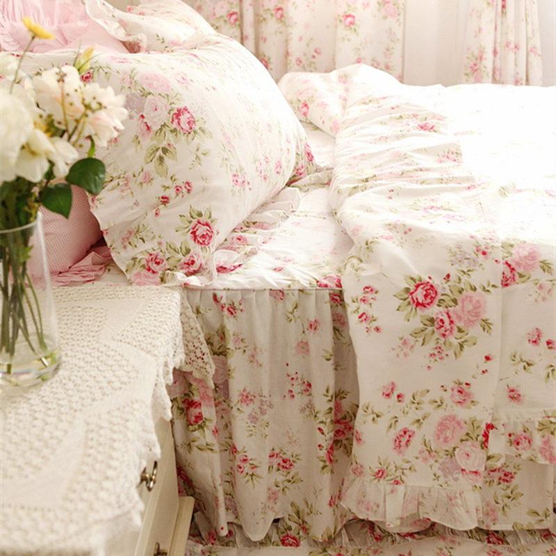 Pastoral rose print bedding set ruffle duvet cover princess quilt cover wrinkle bedspread bed sheet skirt bedroom bedding gift(China (Mainland))
