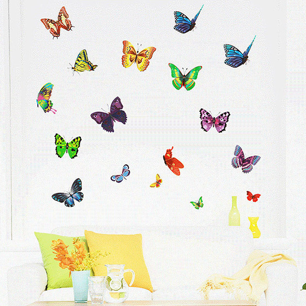 Multi butterfly cartoon creative fashion living room furniture, bedroom background decoration stickers QZ113(China (Mainland))