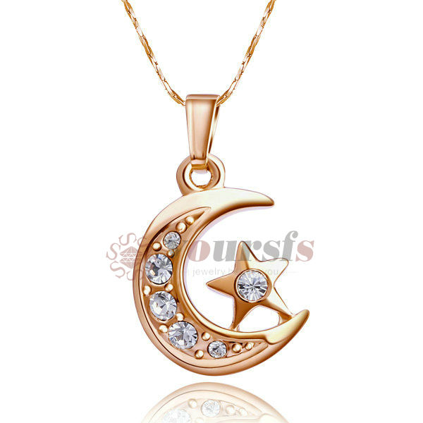 Fashion Necklaces For Women 18K Rose Gold Planted Clear Austria Crystal Moon Star Pendant Necklace collares mujer N042R1 4(China (Mainland))