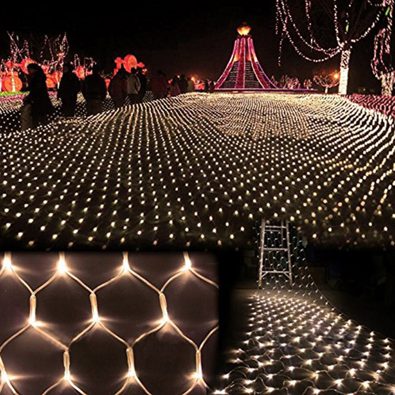 Hot 1 5M 1 5M 100 LED Waterproof Colorful Net Mesh String Light Christmas Wed