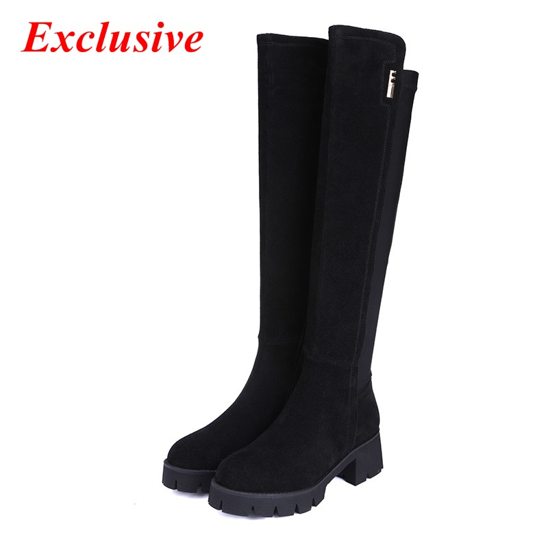 Woman Low-heeled High Boots Winter Short Plush Genuine Leather Thick With Knee-high Boots Nubuck Leather Low-heeled High Boots