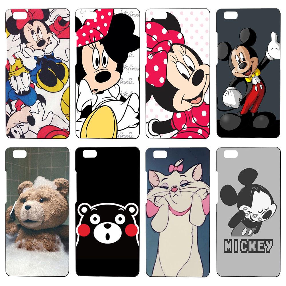 Cute cartoon Mickey & Minnie phone case for Huawei Ascend P7 P8 P8 lite P9 P9 lite cover case Luxury black plastic hard housings(China (Mainland))