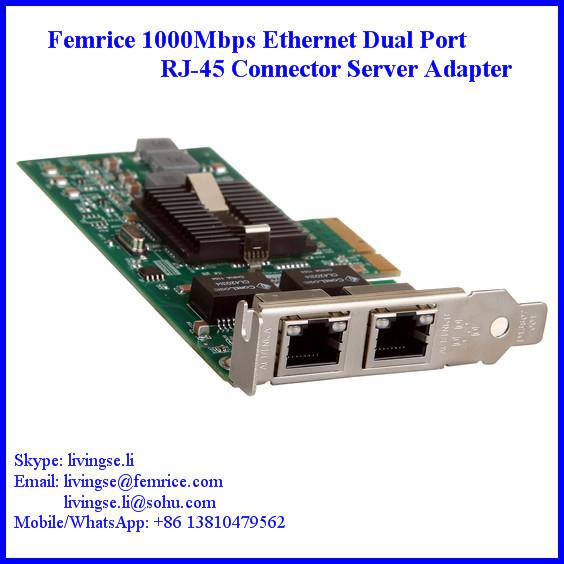1000Mbps Dual Port Gigabit Server Ethernet Lan Card, RJ-45 Copper Cable - Femrice (China store Technology Co., Ltd)