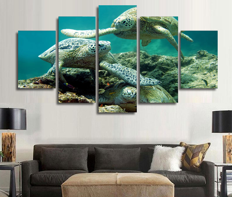 Framed printed underwater sea turtle painting children 39 s Turtle decorations for home