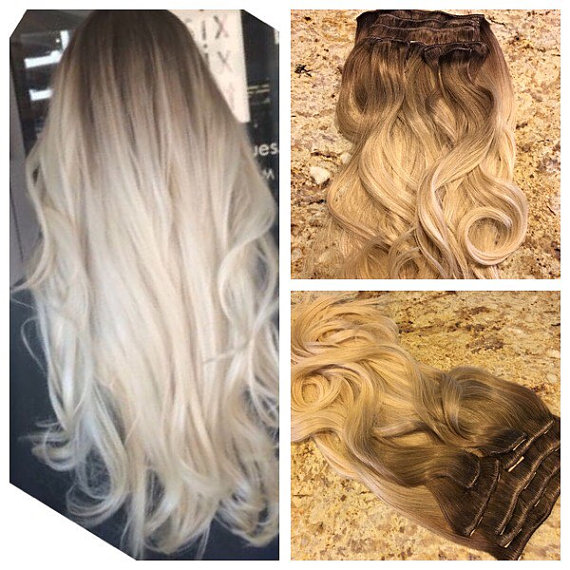 Remy Clip in Hair Extensions Wavy Human Hair Ombre Balayage Virgin Hair Clip Extensions Color #4 to Ash Blonde BY273