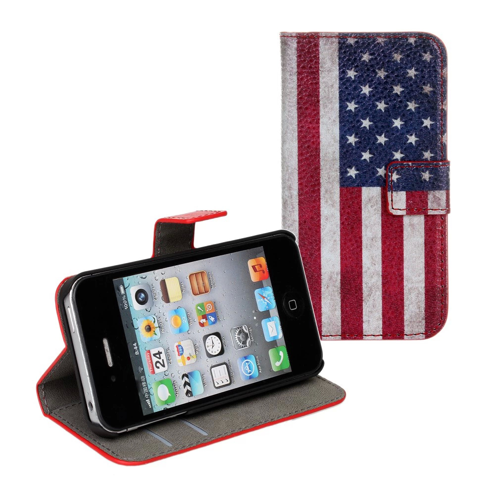 For iPhone 4 4S Cover Case Retro UK USA Flag Wallet Flip Leather Book Purse Mobile Phone Accessories Fundas For iPhone 4 4S Case(China (Mainland))