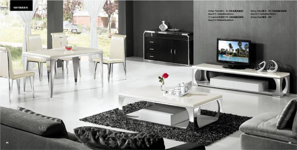 Modern white marble and stainless steel 3 piece furniture for Modern living room table sets