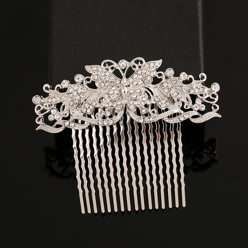 Free Shipping Wedding Hair Accessories, Bride Bridal Floral Hair Comb, Alloy Crystal Rhinestone Comb Butterfly Hairpin Headdress(China (Mainland))