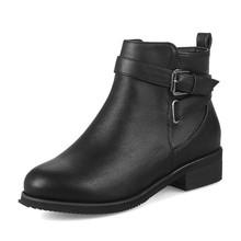 Bonjomarisa Mùa Đông 2020 Plus Size 32-48 Thanh Lịch Mũi Tròn Nữ Mắt Cá Chân Giày Med Rộng Gót Lông Ấm Áp Giày giày Nữ(China)