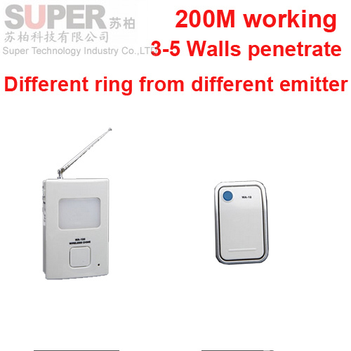 200m work ring bell 1 emitters+1 receivers music doorbell wireless doorbell,wireless door chime bell 36 music door bell<br><br>Aliexpress
