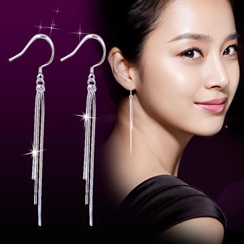Brighton Jewelry 2016 New Fashion Women Jewelry Silver Plated Class Long Tassel Drop Earrings Long Earrings For Women Gift(China (Mainland))