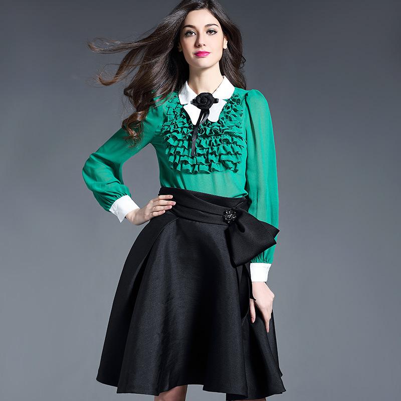 Здесь можно купить  New British Fashion Preppy Style Spring Summer 2016 Ladies Elegant Color Plaid Print Ruffles Design Long Sleeve Dress Sashes XL  Одежда и аксессуары