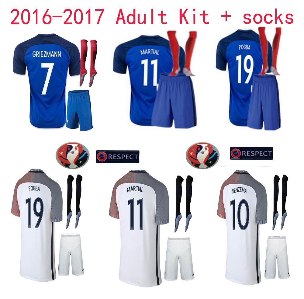 Free patch 2016 quality Franced adult kit+sock Soccer Jerseys 16 17 Football shirt adult kit+sock 2017 SORRYNAM free shipping(China (Mainland))