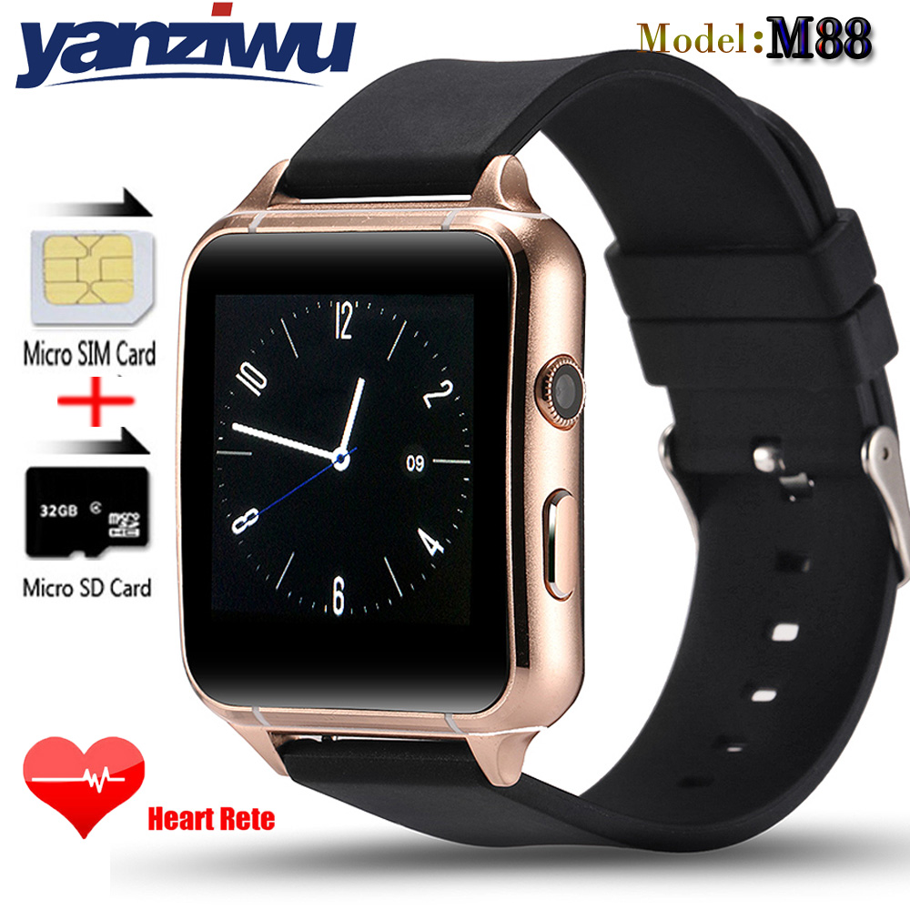 New M88 Bluetooth Smart Watch Support Sim/TF Card Sleep Heart Rate Monitor Pedometer Smartwatch for iPhone 6s 7 Andriod Phone(China (Mainland))