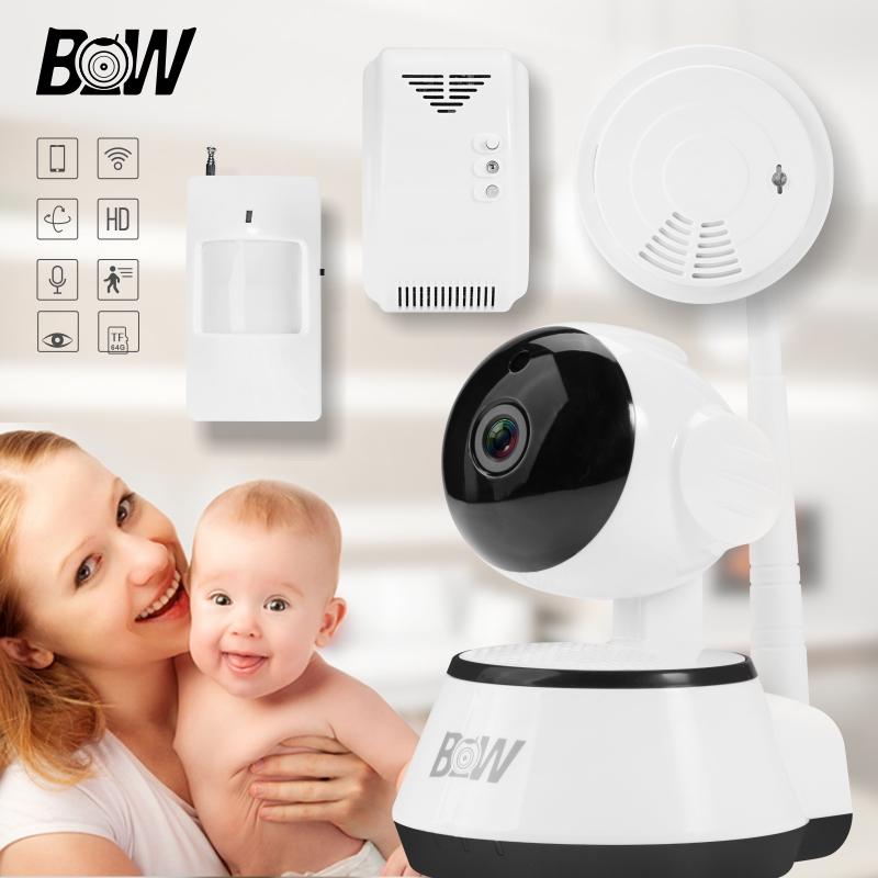 Фотография Alarm System Security Home IP Camera +PIR Motion Sensor/Gas Detector/Smoke Detector Network Wireless Camera surveillance BW014