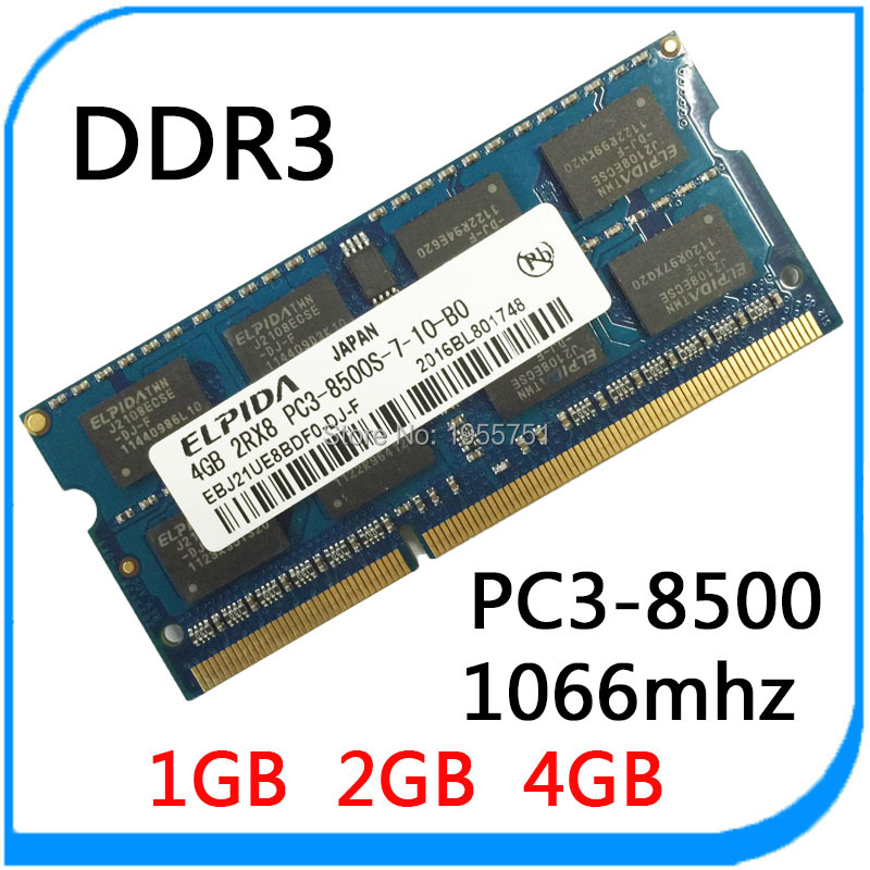 DDR3 ELPIDA 1066Mhz 1GB/2GB / 4GB PC3-8500 204-Pin Brand New Sealed SODIMM Memory Ram Memoria For Laptop Notebook Lifetime(China (Mainland))