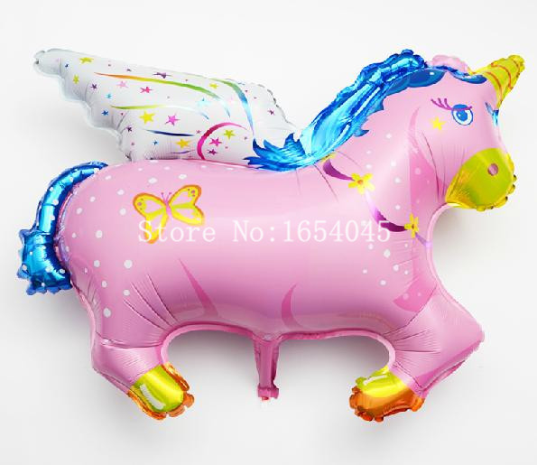 5 Pcs/Lot, Big Unicorn Large Balloon, Pegasus Large Horse Foil Balloon animals pet, Party/Birthday/Wedding Decorations festa(China (Mainland))