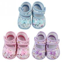 New Fashion Cute Bowknot Baby Girl Cotton Crib Shoes Flower Pattern Infant Toddler Soft Sole 3 Colors(China (Mainland))