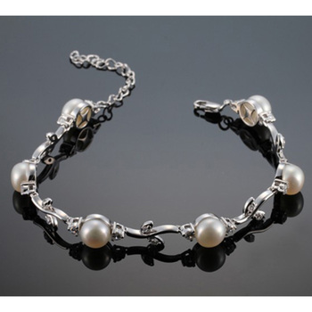 925 Sterling Silver bracelet Jewelry with 6pcs 7.5-8mm natural freshwater pearls High luster silver pearl bracelet