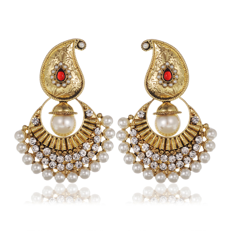 HP-UP Vintage Golden Queen Palace Luxury Earrings Europe Noble Indian Ethnic Bohemian Inlay Rhinestone Pearl Beads Earrings(China (Mainland))