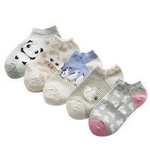 5 pares de lindos animales calcetines de algodón Meias mujer Kawaii mono Panda verano calcetines cortos zapatillas mujeres Casual suave divertido barco calcetines(China)