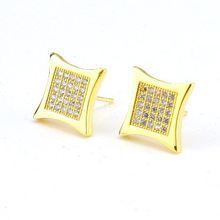 14K Gold Filled Hip Hop Kite Screw Backs Earrings Square Hip Hop Earring 5 Row CZ Stud Earrings Men's Jewelry Wholesale(China (Mainland))