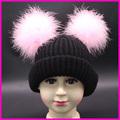 Winter Girls Hats Children Real Double Fur Pompom Hat Baby Beanies Kids Boys Thicken Warm Caps