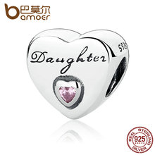 Buy BAMOER Gift 925 Sterling Silver Daughter's Love, Pink CZ Bead Charms fit Bracelets Women High Fine Jewelry PAS323 for $9.74 in AliExpress store