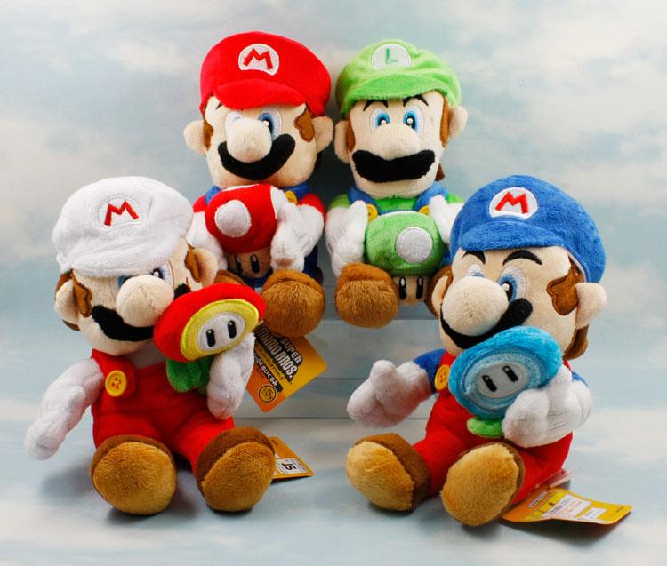 "Free Shipping Super Mario Plush 4 Model/set 7"" Holding Mushroom & Flower Louis & Marie Plush Toys Soft Stuffed Dolls SMPD101(China (Mainland))"