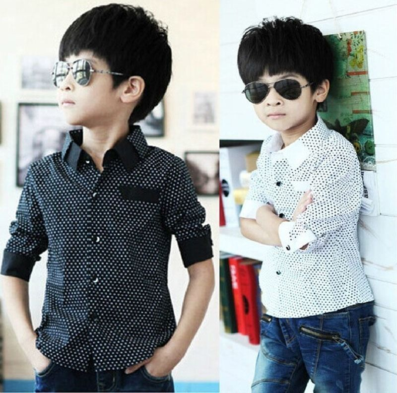 Fashion Kids Boys Formal Shirt Plain Long Sleeved Polka Dot Lapel Party Shirt<br><br>Aliexpress