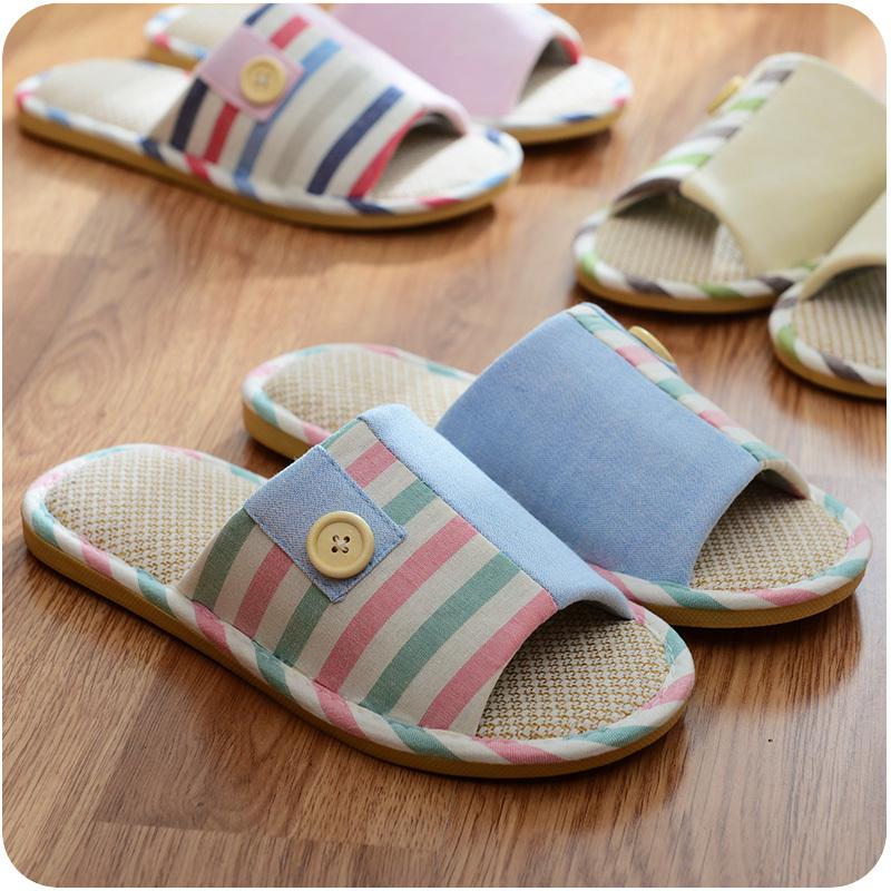 Primavera verano mujer hombre ropa de rayas zapatillas de casa de suelo cubierta antideslizante - Zapatillas para casa ...