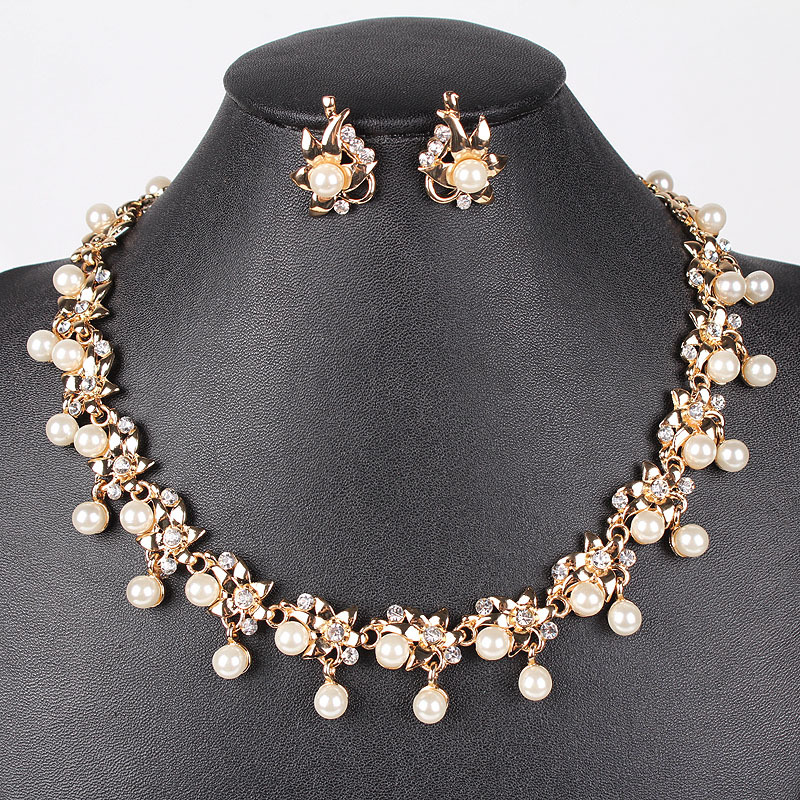 pn12318 classic imitation pearl jewelry sets gold plated