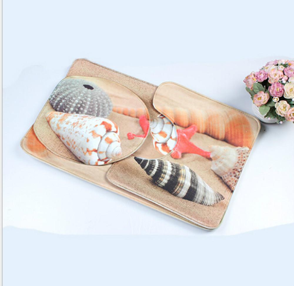 shell sea star design 3 piece toliet rug set with bath mat