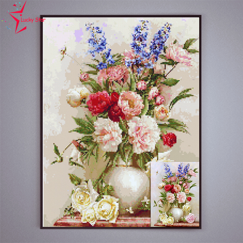 DIY Flower Diamond Embroidery Painting Resin Drill Picture Of Rhinestones 5D Diamond Mosaic Home Decoration Painting(China (Mainland))